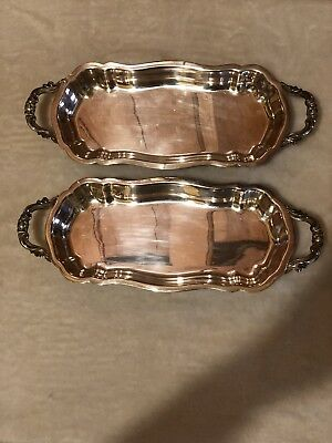 """(2) F B Rogers Silver Company Silver plated 14"""" L Serving Tray 6"""" H"""