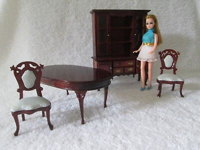 Vintage Topper Dawn Doll Dining Room Table Chairs Hutch Dollhouse Furniture Lot