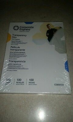 Transparency Film for Copiers ~ Brand New 100 Sheets! ~ Corporate Express