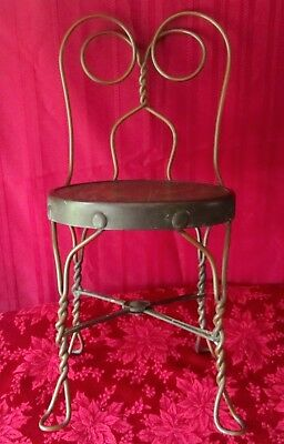 Vintage Org. Child's Ice Cream Parlor Chair Stool Twisted Metal Frame Wood Seat