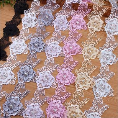 DIY 1Y Organza Embroidery flowers lace Pearl Beading Applique Sewing Crafts