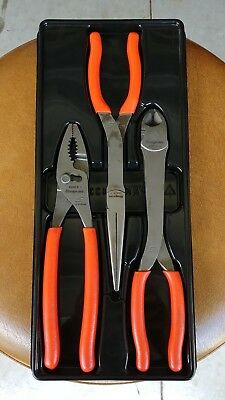 Snap On Tools 3 Piece Heavy Duty Pliers Set PL330ACF NICE Free Shipping