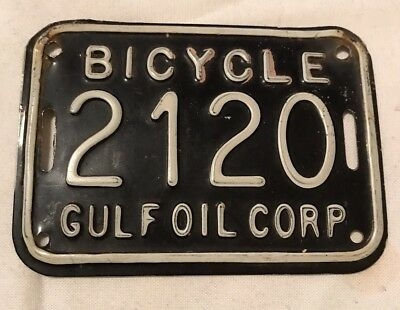 Gulf Oil Corp Bicycle License Plate