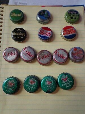 LOT OF 15 VINTAGE USED PEPSI COLA ,Ginger Ale, Kelly's,CORK LINED BOTTLE CAPS