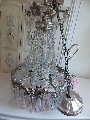 """Shabby Vtg. Chic Beaded Basket Style 4-Arm Chandelier Lamp W/ Crystals-""""as Is"""""""