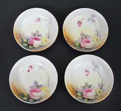 Nippon Dessert Bowls China Pink Yellow Floral Plates Early Maple Leaf Mark Set 4