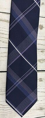 MICHAEL KORS - navy blue with purple gray and white Geometric pattern 100% SILK
