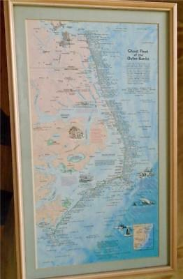 Ghost Fleet of the Outer Banks Framed Map of Ship Wrecks US Nat. Geographic