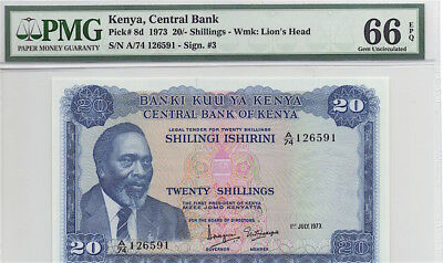 KENYA 1973 20 SHILLINGS NOTE, P8d PMG GEM UNCICULATED 66 EPQ