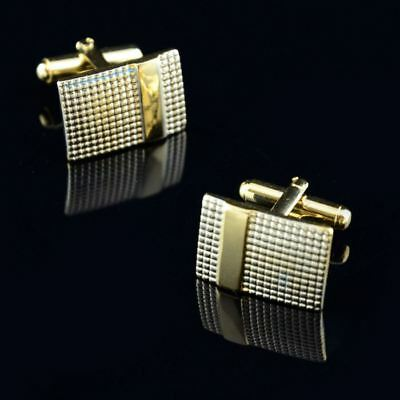Silver & Gold Toned Mens Party Cufflinks Stainless Steel Shirt Cuff Links VV28