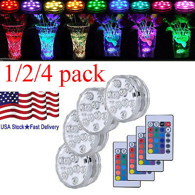 RGB Remote Submersible Swimming Pool Spa Bath LED Lights Waterproof Underwater