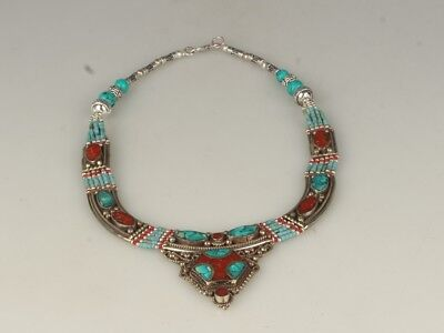 China Exquisite Handmade silver mosaic turquoise necklace