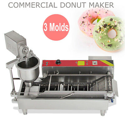 NEW Commercial Automatic Donut Maker donut Making Machine Wider Oil Tank 3 Mold