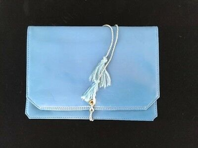 ROLFS Jewelry Carrying Bag Blue Leather Foldable Travel Folding Roll Pouch VTG