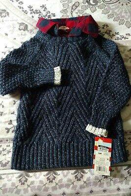 A REALLY NICE SWEATER WiTH A BUFFALO PLAID COLLAR .. LITTLE BOYS Size 2T