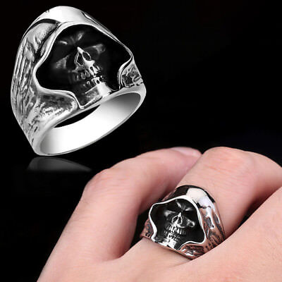 1PC Vintage Gothic Skull Ring Alloy Band Halloween Jewelry for Men Women