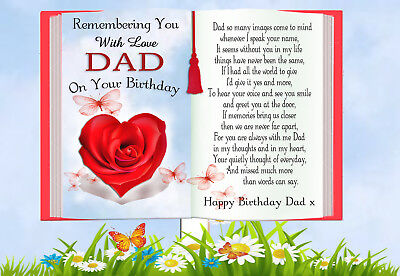Dad Birthday Rememberance Memorial Graveside Keepsake Card & Free Holder