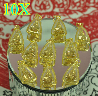 10 Pcs Amulet Whole Lot LP Sothorn Thai Buddha Figure Wat Jewelry Lucky Pendant