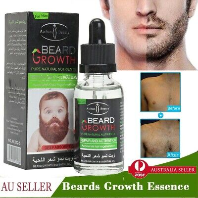 Men Oil Beard Mustache Growth Essential Oil Fast Enhance Facial Whiskers 40ML