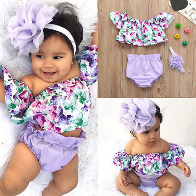 3Pc Newborn Infant Baby Girl Floral Print Off Shoulder Tops Shorts Outfit Set PP