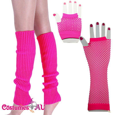 80s Neon Hot Pink Fishnet Gloves Leg Warmers 80's Party Girl Costume Accessories
