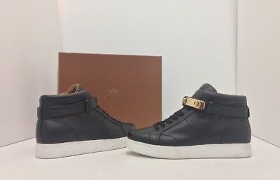 608d3a382f6 COACH RICHMOND SWAGGER Women s High Top Black Leather Wedge Sneakers Size  9.5 M -  77.49