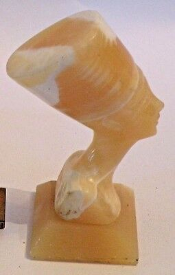 6b6G  VINTAGE ALABASTER CARVED FIGURINE OF ANCIENT EGYPTIAN NEFERTITI repro