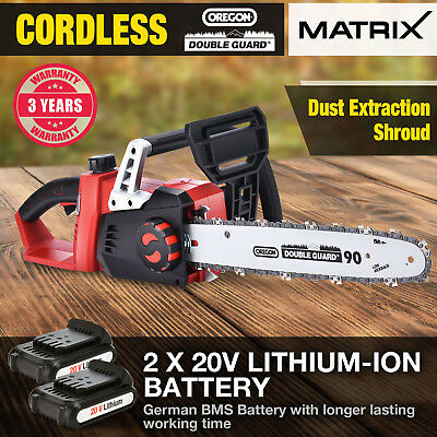 NEW Matrix 40V Cordless Chainsaw 3.0ah Lithium Battery&1.5ah Charger Power Tool