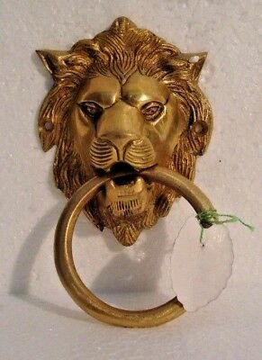 LARGE - ANTIQUE Style Brass DOOR KNOCKER - LION Style - Fully Brass - RARE(899)