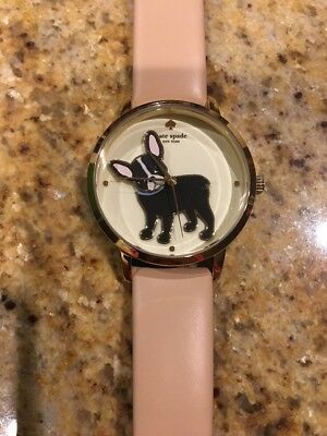 NWT Kate Spade NY French Bulldog Frenchie Antoine Grand Metro Vachetta Watch