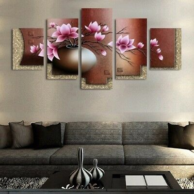 Modern Canvas Wall Art Frame 5 Panel Beautiful Flower Modular Pictures
