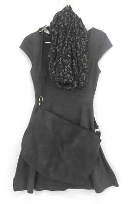 VIBE Sportswear Grey Fit & Flare Skater Dress Black Purse Floral Scarf Women's M