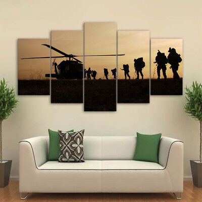 Canvas Art Poster Style Soldiers Wall Abstract Pictures For Living Room 5 Panel