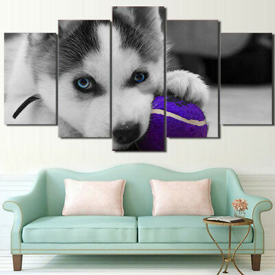 Canvas Painting Wall Art Abstract Decor Frame 5 Panel Picture Cute Dog Landscape