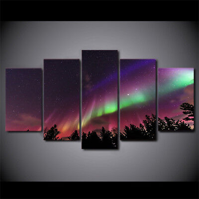 Abstract 5 Panel Beautiful Landscape Northern lights Pictures For Living Room