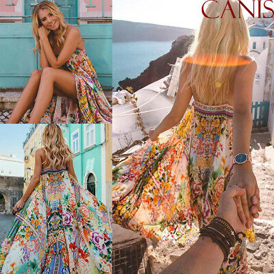 NEW Women Boho Floral Long Maxi Dress Evening Party Beach Dress Summer Sundress