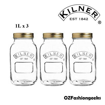 Kilner Genuine Preserve Jar Set of 3 x 1L 01604
