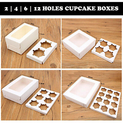 White Cupcake Box Range 2 hole 4 hole 6 hole 12 hole Window Face Cases Party