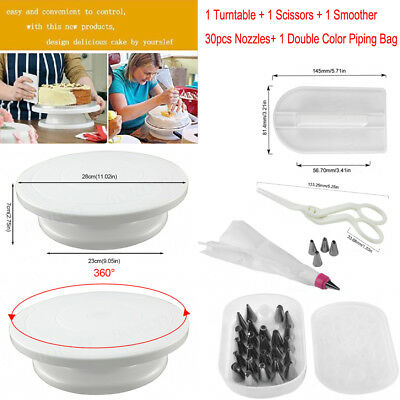 Cake Baking Decorating Supplies Turntable Tow Color Pastry Bag Scissors Smoother