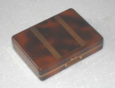 QUALITY ART DECO 1930s FRENCH FAUX TORTOISE SHELL POWDER COMPACT WITH COMB