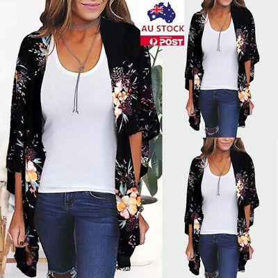Plus Size Women Floral Printed Long Sleeve Kimono Cardigan Beach Cover Up Tops