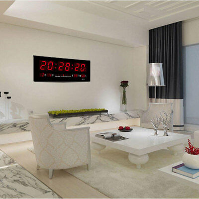 UK Large Digital Red LED Jumbo Wall Clock Alarm Caldendar Temp Time Humidity