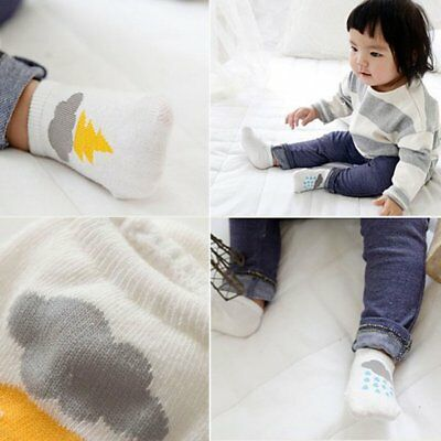 Childs Boy Baby Girls Soft Ankle Socks Cloud Print Cotton Anti-slip Warm Sock US
