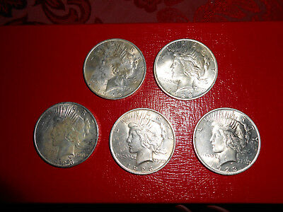 (5) 1923 Peace Silver Dollars