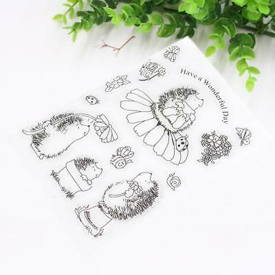 Hedgehog Transparent Silicone Clear Rubber Stamp Cling Diary Card Scrapbooking;