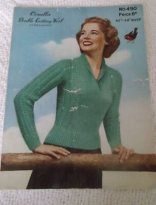 ORIGINAL VINTAGE, 1950's ROBIN KNITTING PATTERN, No.490 WOMAN'S  SPORTS JERSEY