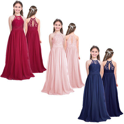 UK Flower Girl Dress Princess Formal Party Ball Gown Wedding Bridesmaid Age 4-14