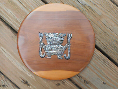 """Peruvian Wood Wall Plaque  With Inca Diety """" Viracocha """" In Sterling Silver"""