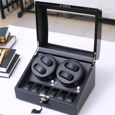 4+6 Automatic Watch Winder Ebony Quad Piano Wood Rotation Display Box,