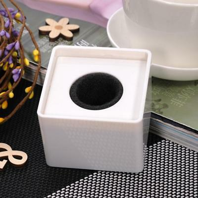 White ABS Mic Microphone Interview Square Cube Station Logo 3.7cm Hole!